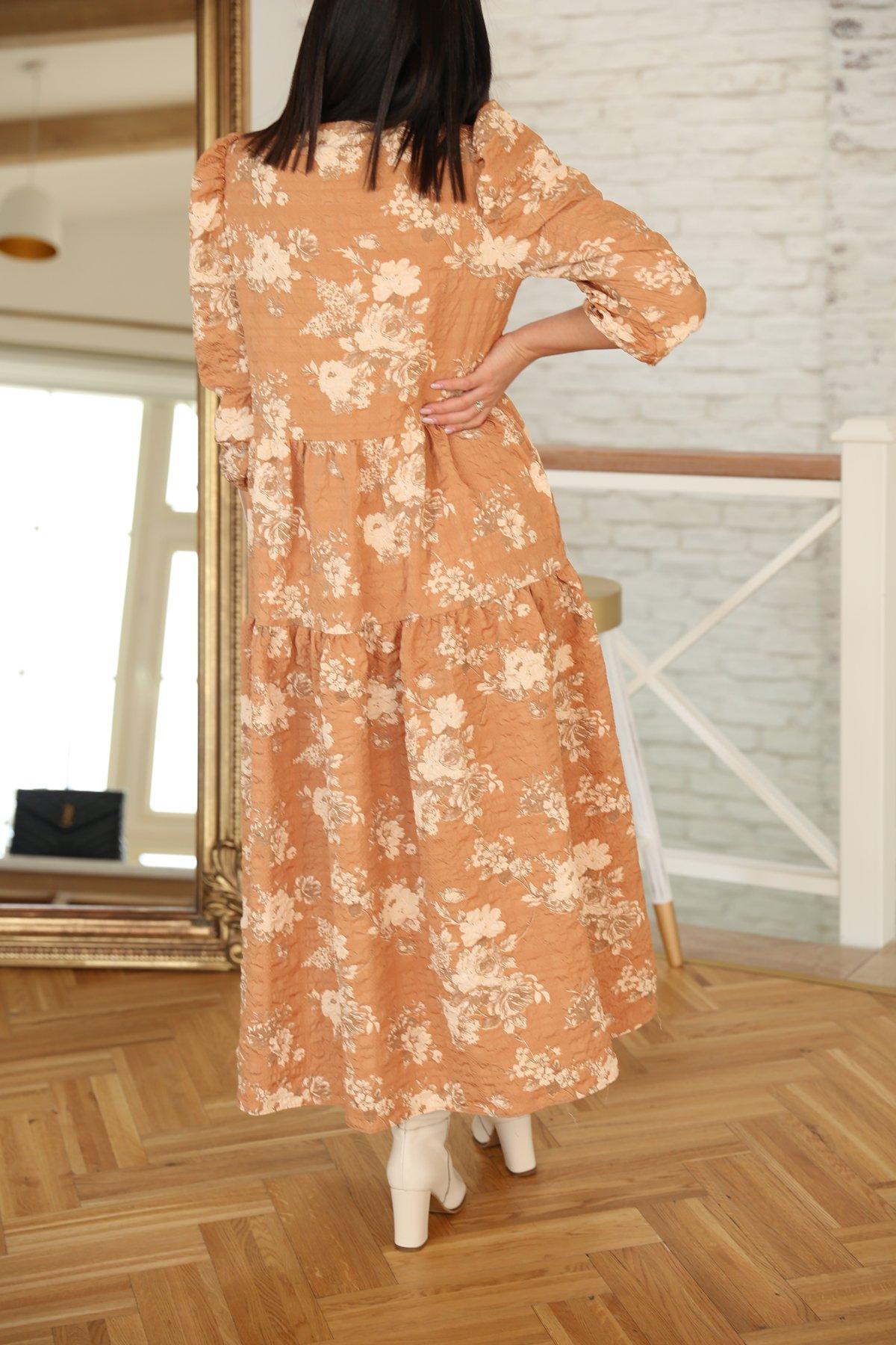 Karpuz Kol Dikişli Çiçek Desen Elbise