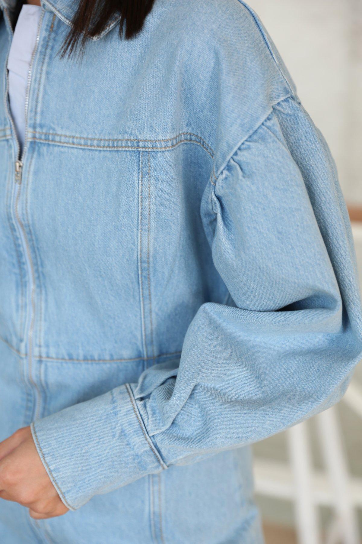 Önden Fermuarlı Denim Elbise