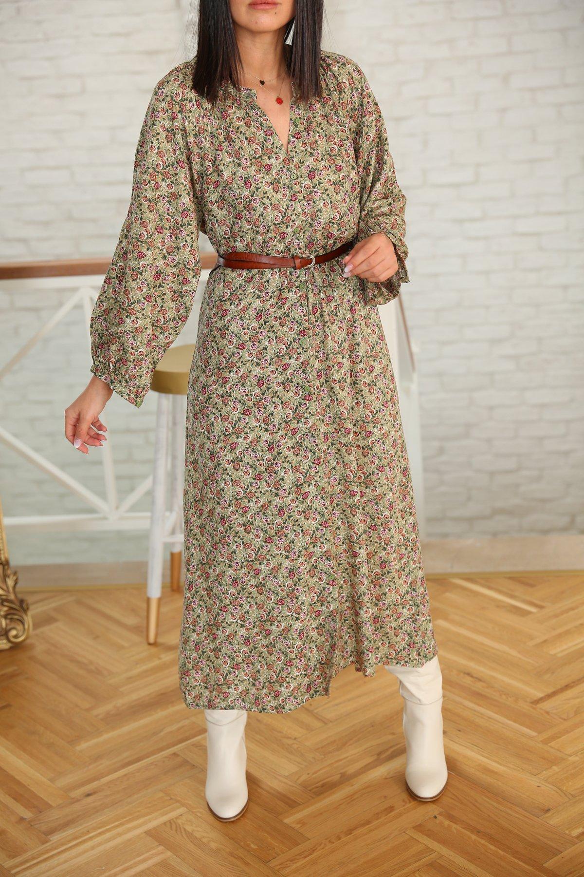Hakim Yaka Boydan Düğmeli Elbise