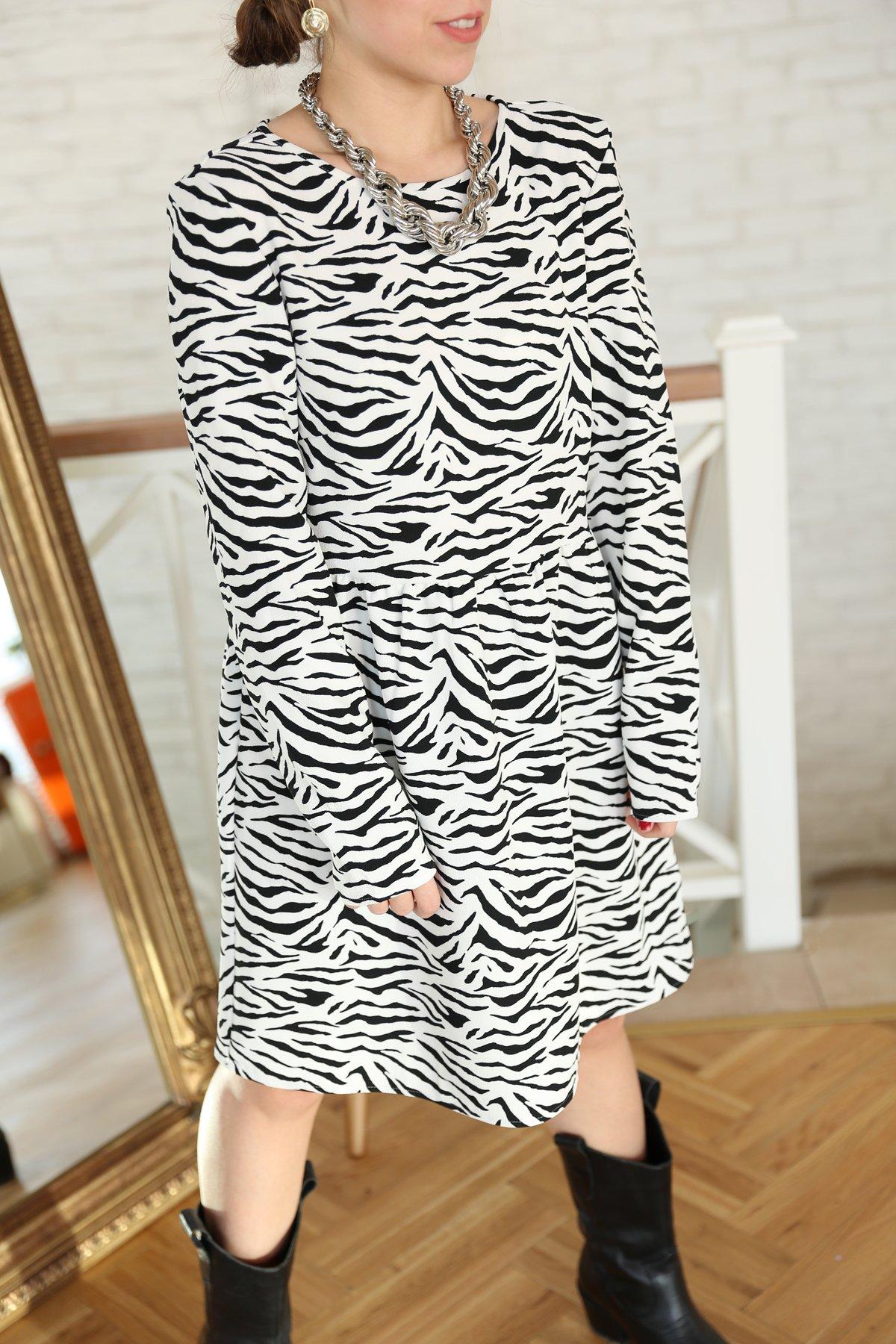 Zebra Desen Elbise