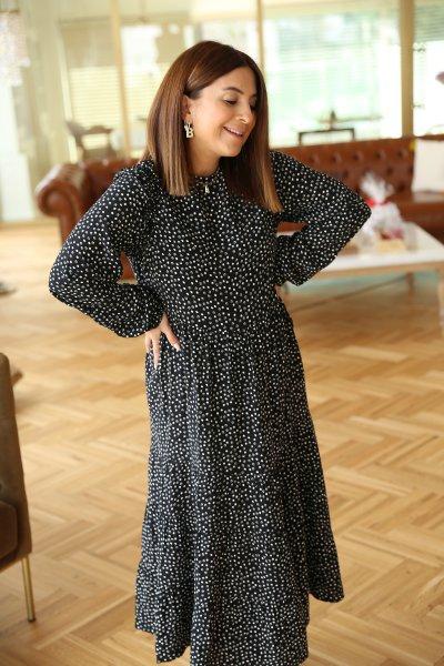 Kolları Fırfırlı Midi Elbise