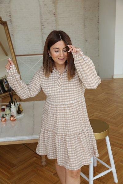Ekoseli Altı Pileli Elbise