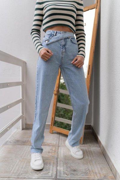 Paçası Kesik Belden Kuşak Detaylı Jean