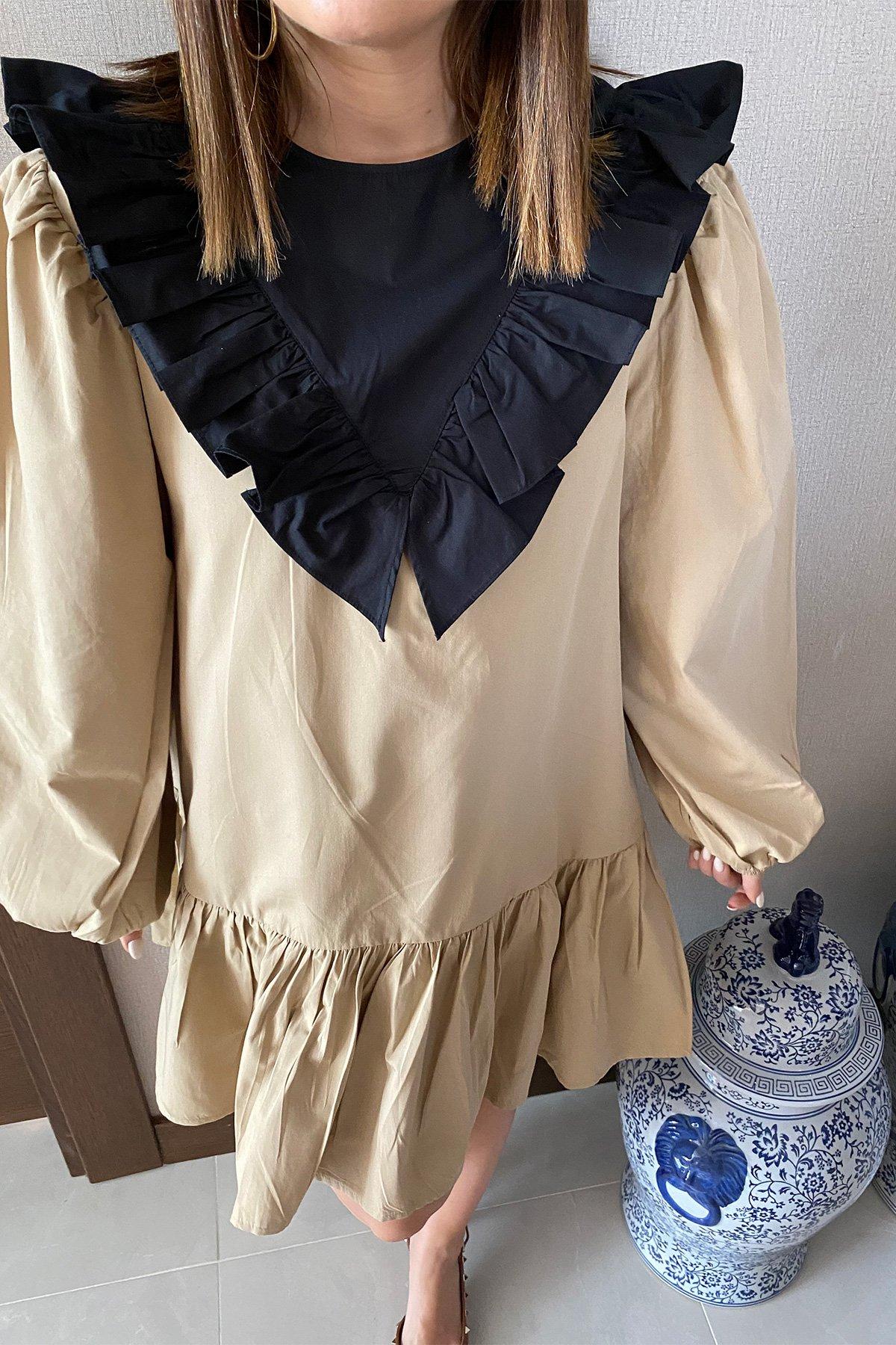Garnili Fırfırlı Elbise