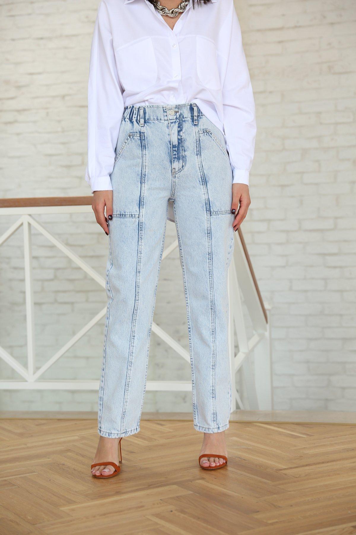 Beli Lastikli Önden Cepli Jean