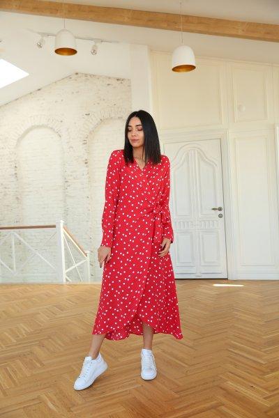 Kolları Vatkalı Puantiyeli Elbise