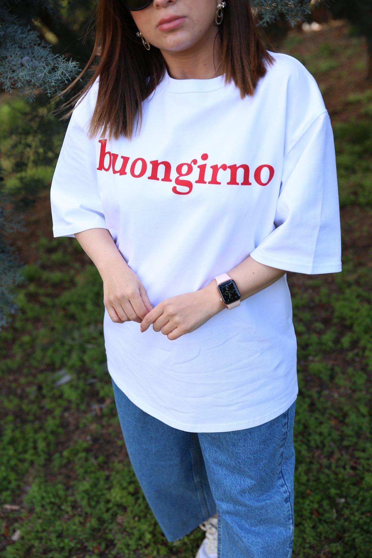 Buongirno Baskılı Tshirt