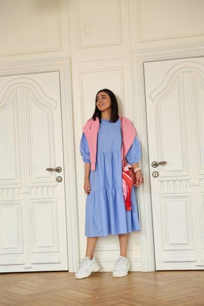 Balon Kol Kat Kat Salaş Elbise