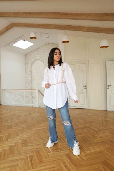 Yanı Yırtmaçlı Lazerli Jean