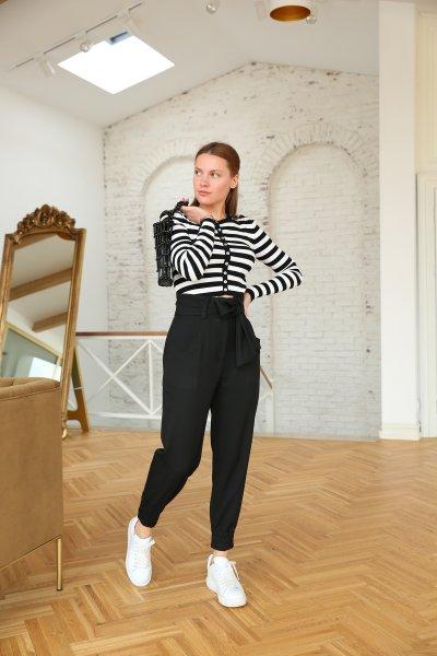 Kuşaklı Yüksek Bel Paçası Lastikli Pantolon