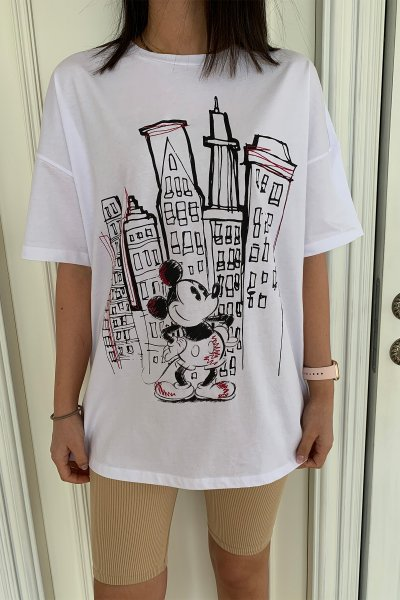 Dikiş Detaylı Mickey Baskılı Tshirt