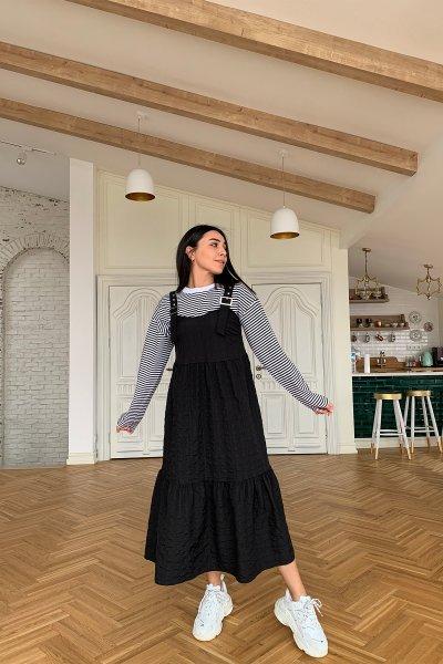 Kemer Detay Altı Pileli Elbise