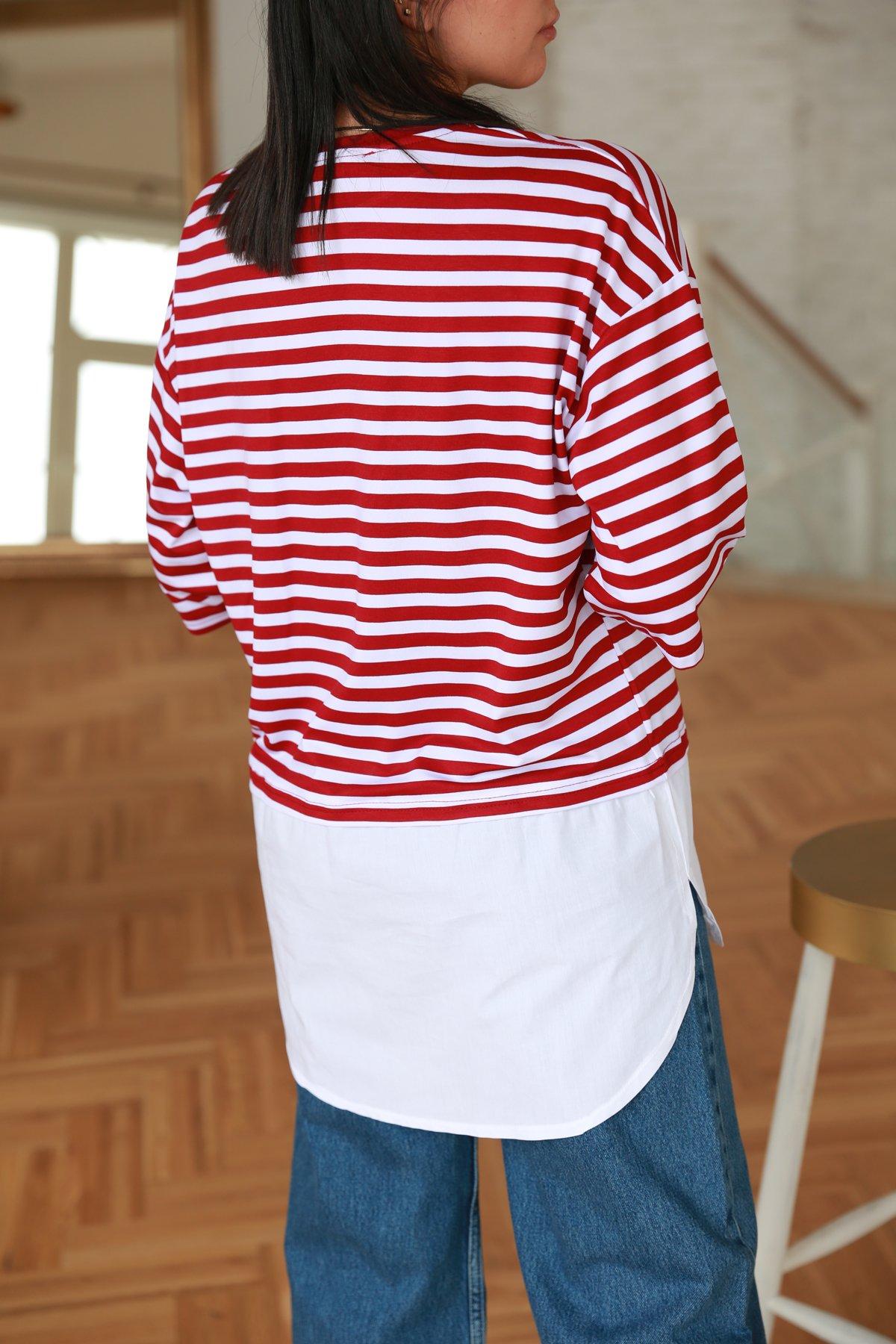 Gömlek Detay Çizgili Tshirt