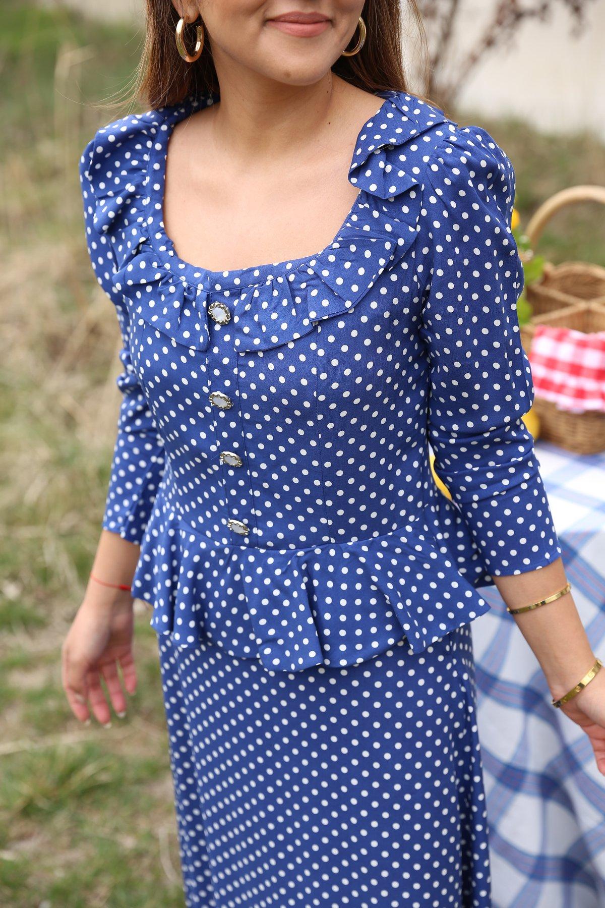 Puantiyeli Vintage Elbise