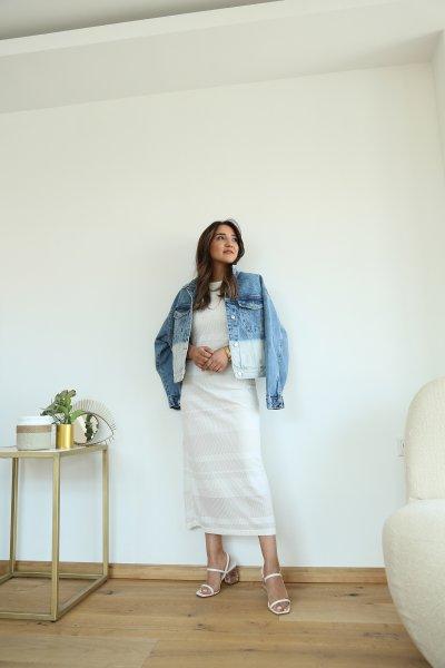 Şerit Desenli Askılı Elbise