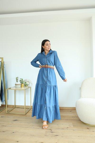 Boydan Düğmeli Beli Lastikli Denim Elbise