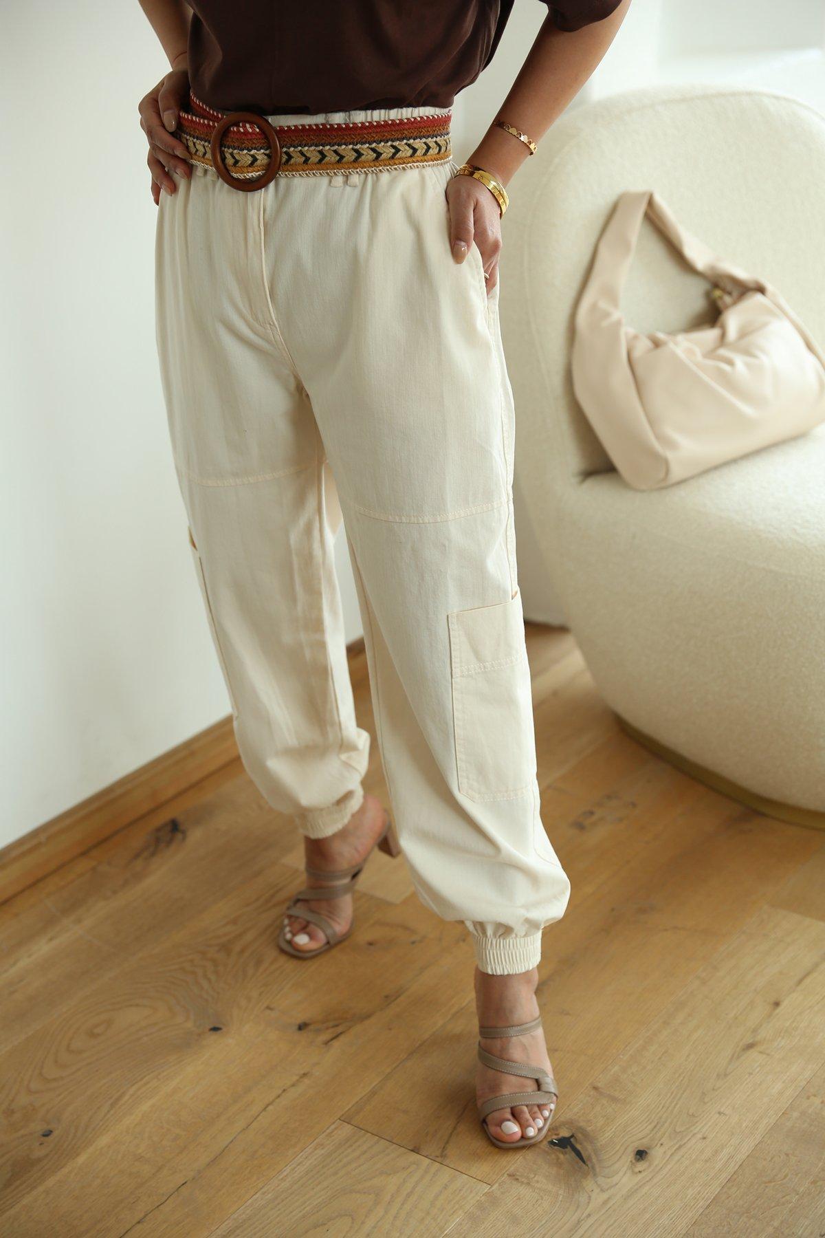 Paçası Ve Beli Lastikli Kargo Cepli Jean