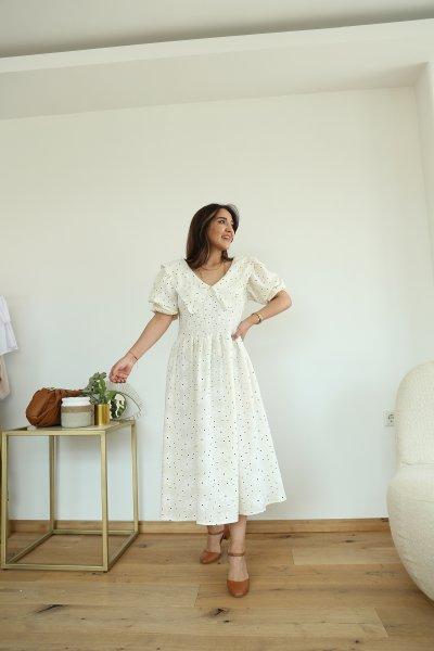 Vintage Yaka Puantiyeli Elbise