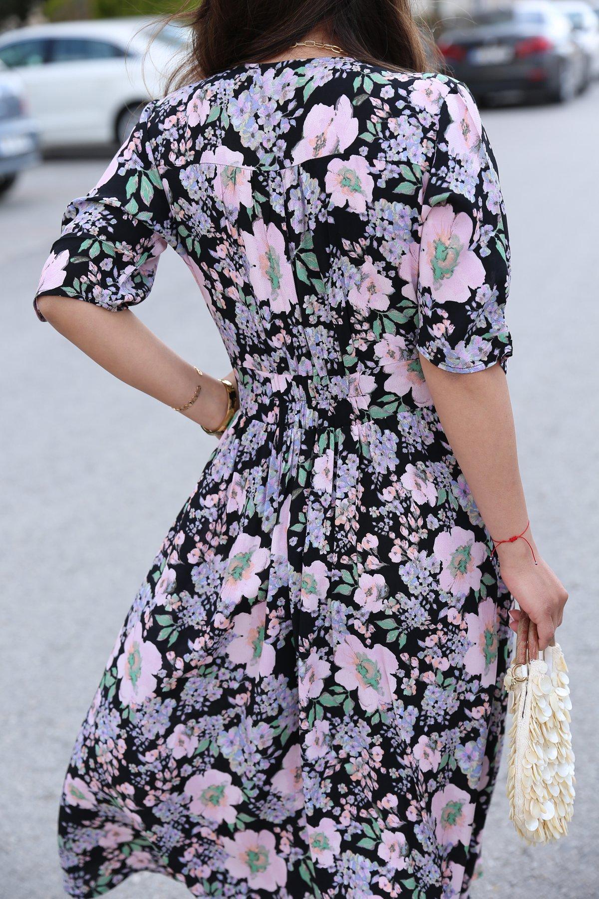 Düğme Detay Kısa Kol Çiçek Desen Elbise