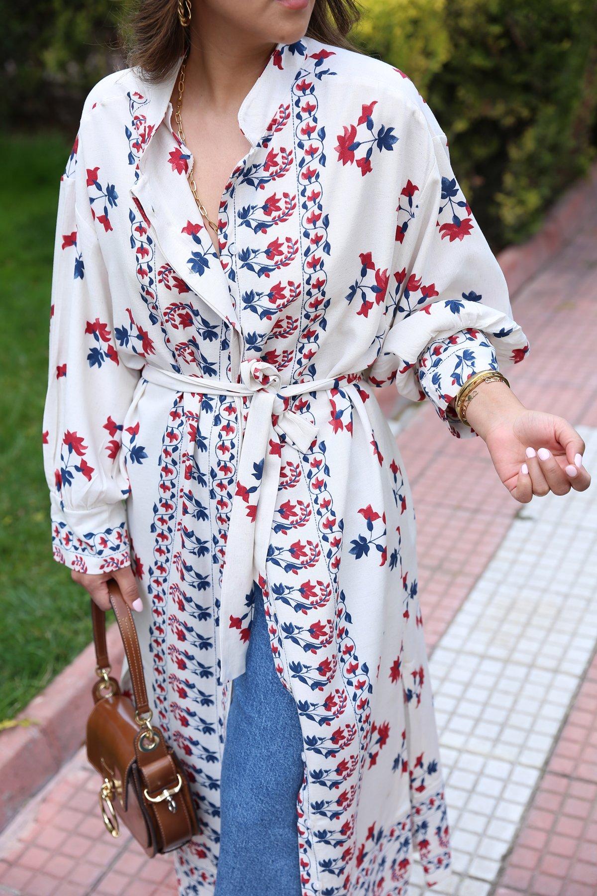 Çiçek Baskılı Kimono Elbise
