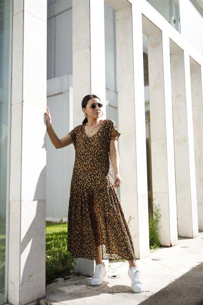 V Yaka Yarasa Kol Leopar Desen Elbise