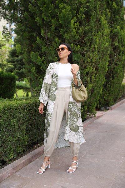 Desenli Yanı Yırtmaçlı Kimono