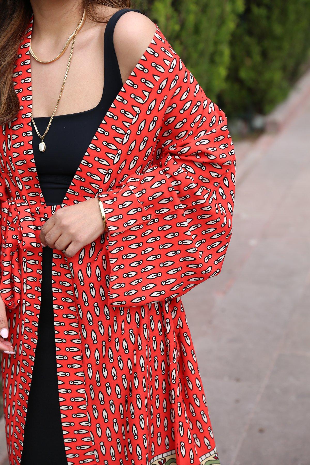 Alt Kısmı Etnik Desenli Kimono