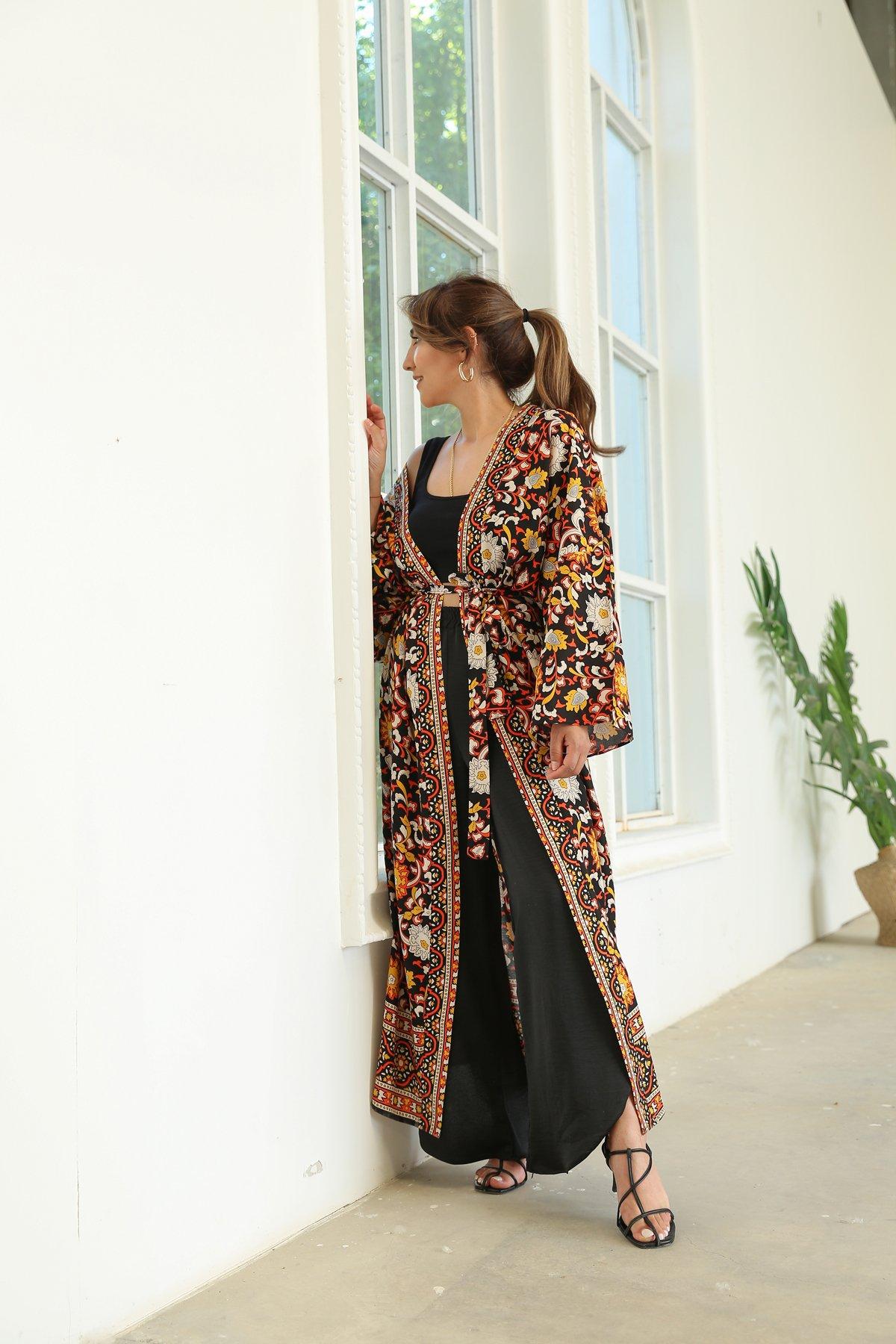 Büyük Çiçek Desen Kimono