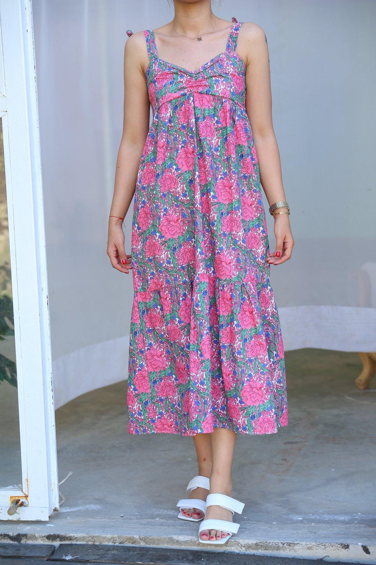 Omzu Bağlamalı Çiçek Desen Elbise