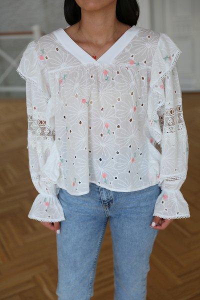 Tasarım Fisto İşlemeli Bluz