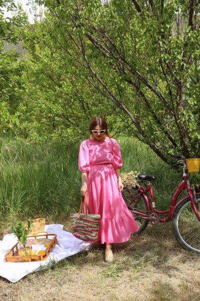 Sırtı Bağlamalı Poplin Elbise