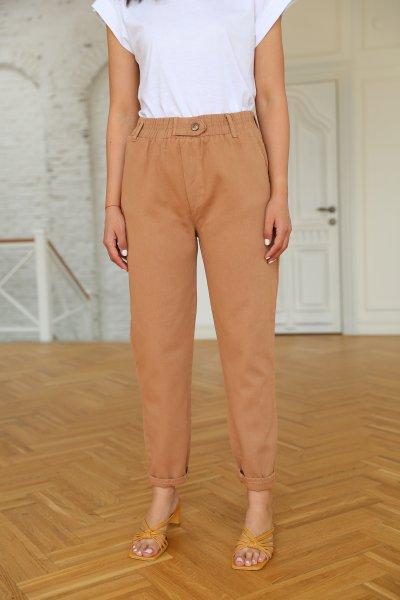 Beli Lastikli Düğme Detay Havuç Pantolon
