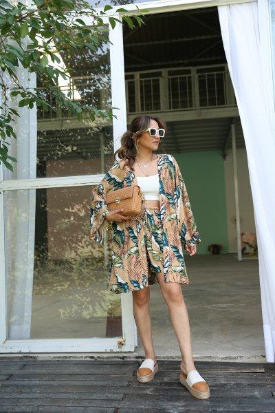 Yaprak Desen Kimono Şort Takım