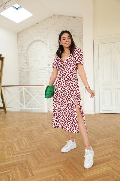 Geometrik Desen Kısa Kol Elbise