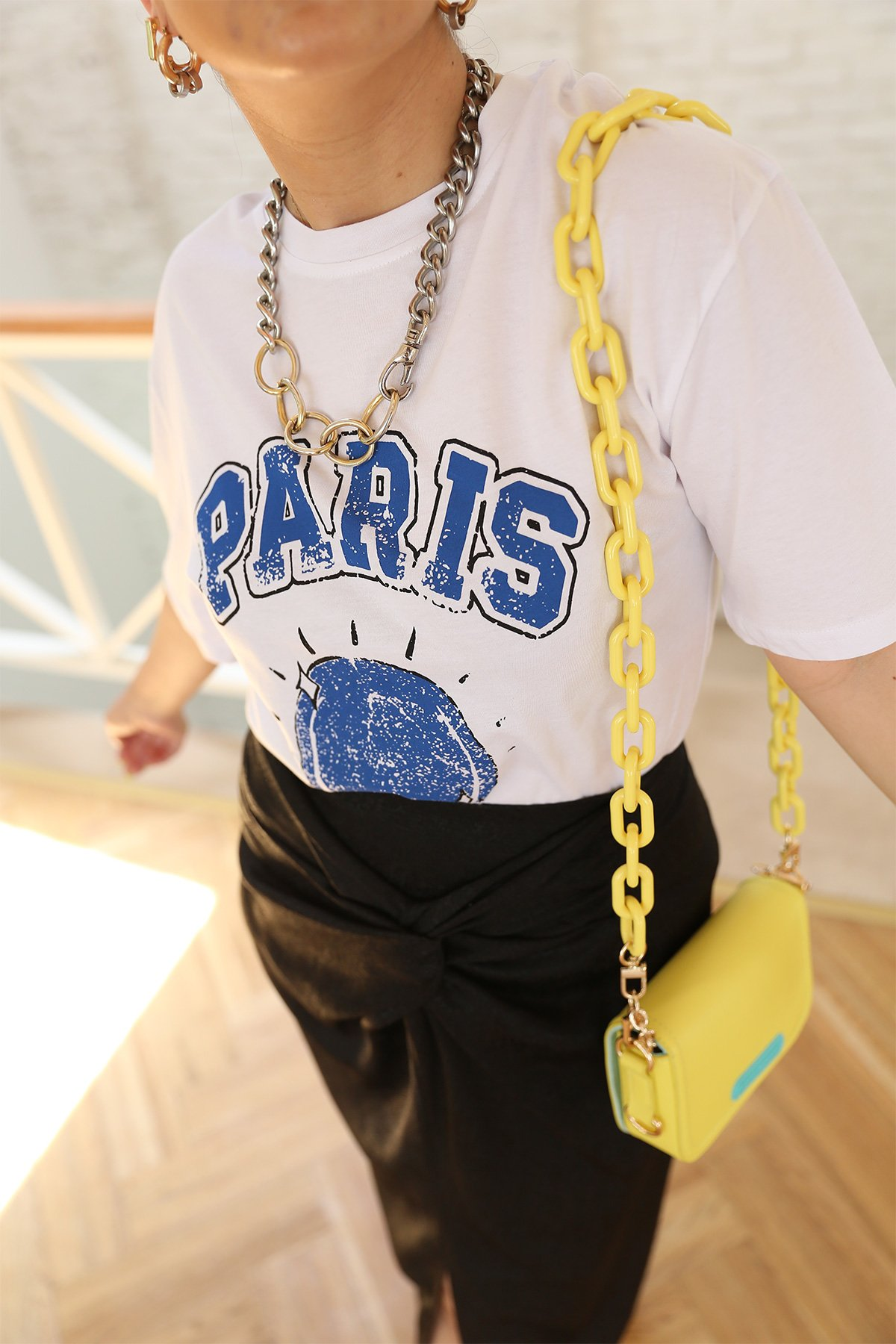 Paris Baskılı Oversize Tshirt