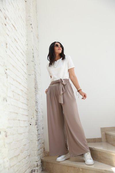Kendinden Kuşaklı Bol Paça Pantolon
