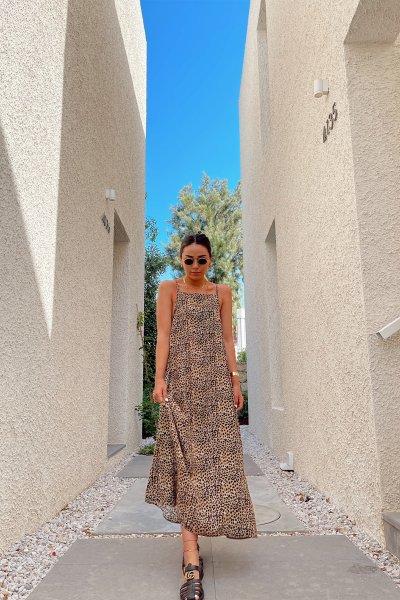 İp Askılı Leopar Desen Elbise