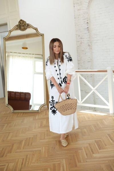 İşlemeli Balon Kol Tasarım Elbise