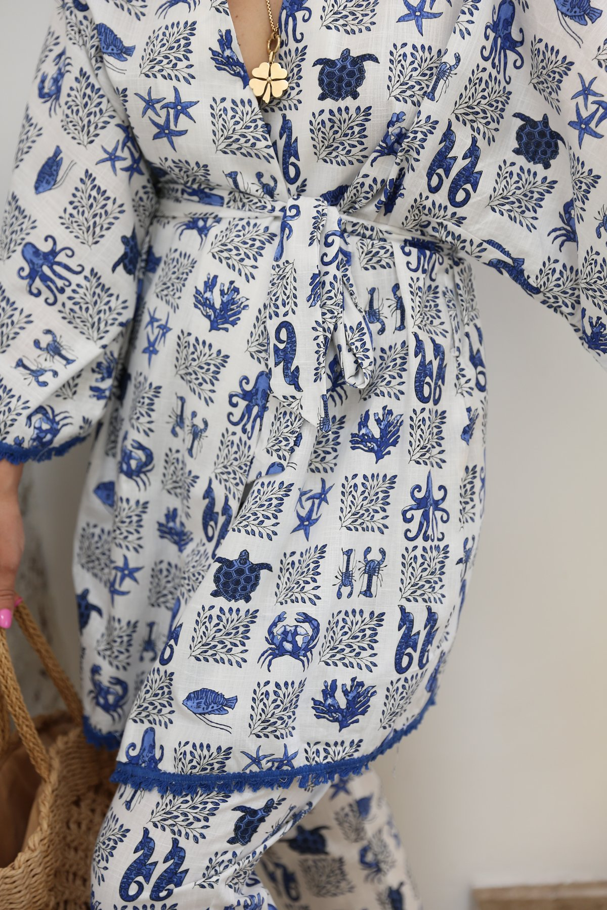 Desenli Altı Püsküllü Kimono Pantolon Takım