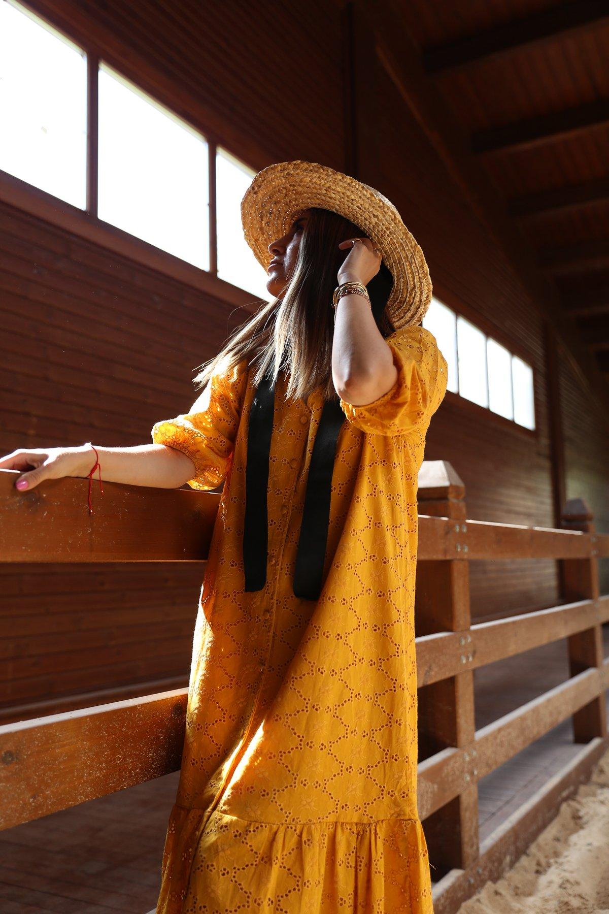 Fisto İşlemeli Boydan Düğmeli Elbise