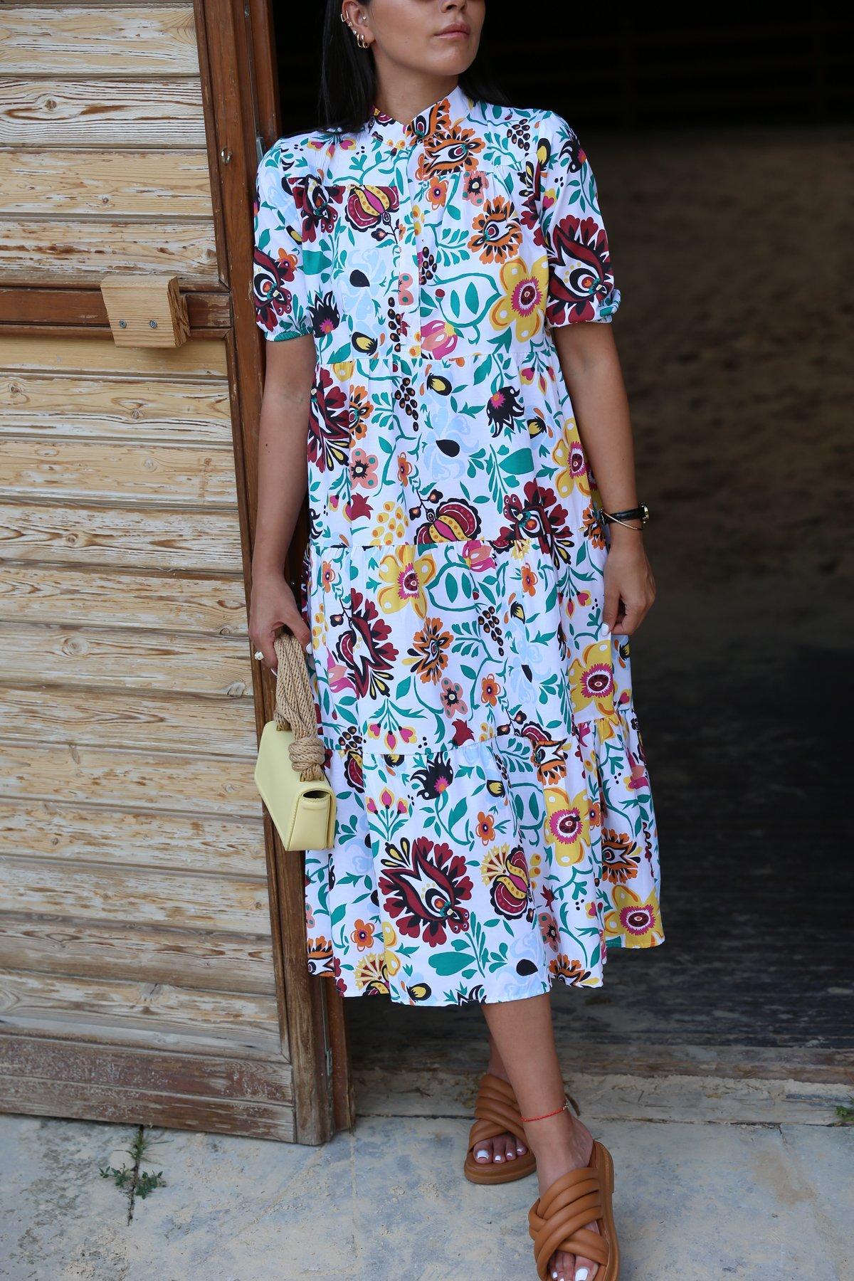 Karışık Çiçek Desen Elbise