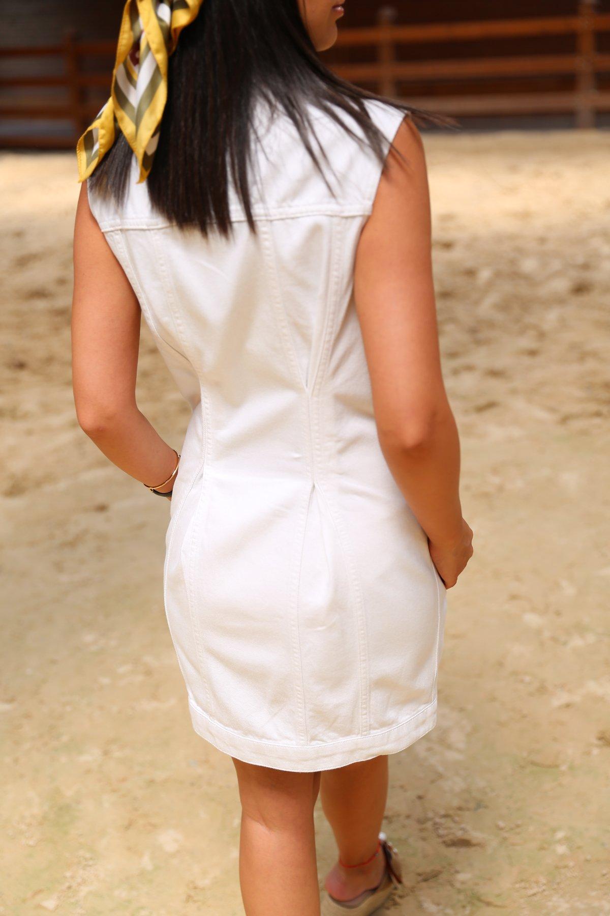 Gold Düğme Detay Kolsuz Kot Elbise