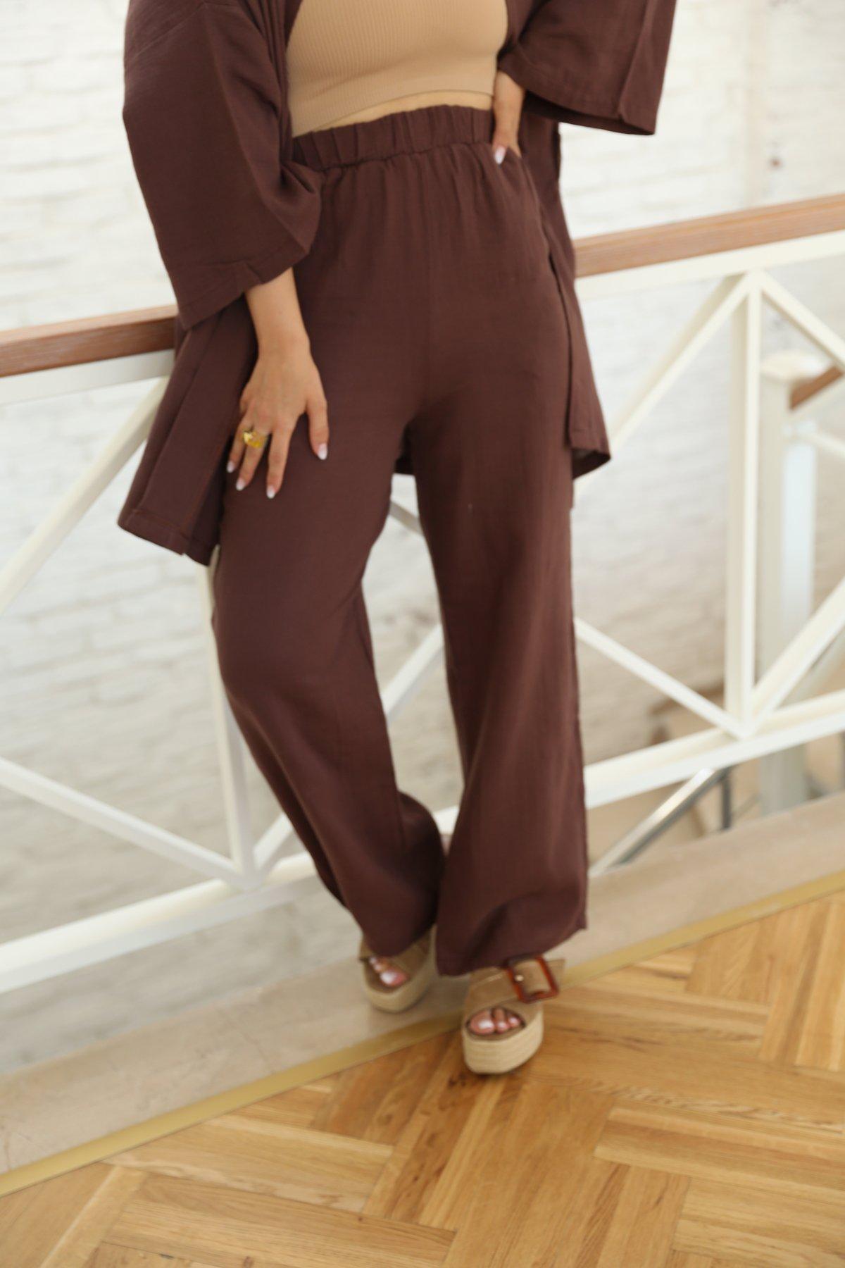 Kuşaklı Kimono Pantolon Takım