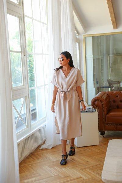 Tensel Kumaş V Yaka Elbise
