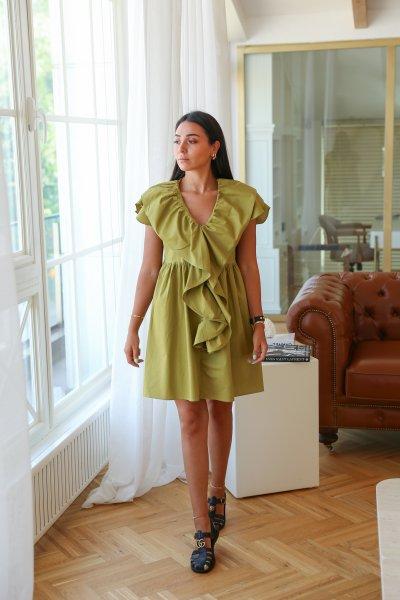 Fırfır Detaylı Poplin Elbise