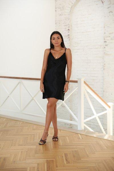 Degaje Yaka Saten Mini Elbise