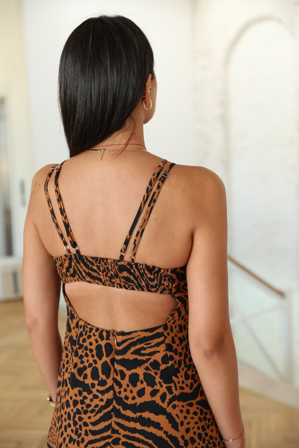 Zebra Desen Sırtı Lastikli Elbise