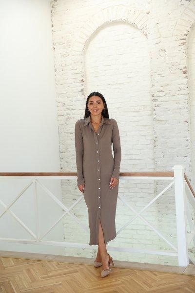 Boydan Düğmeli Likralı Uzun Elbise