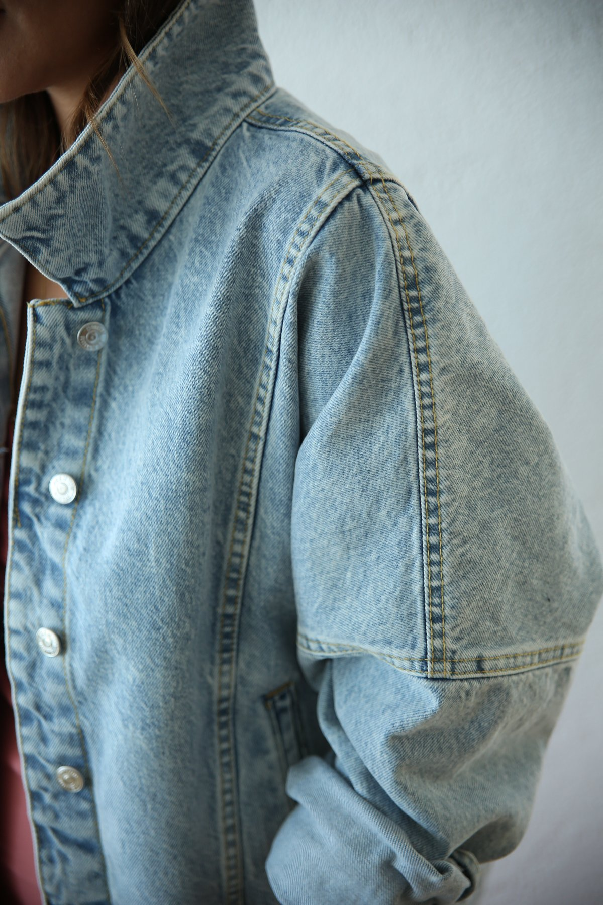 Yarasa Kol Yıkamalı Kot Ceket