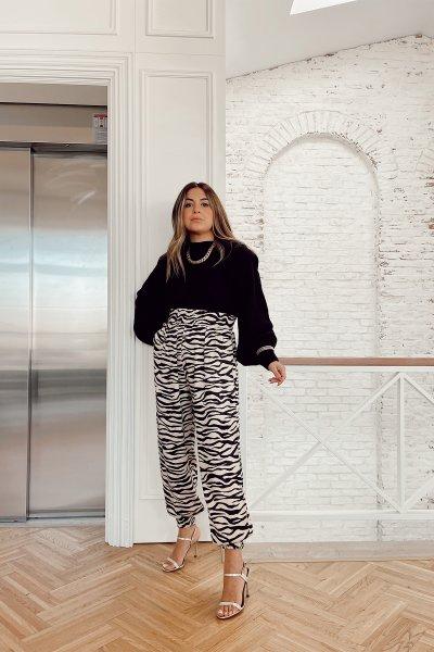 Zebra Desen Saten Pantolon